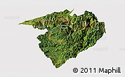 Satellite Panoramic Map of Luquan, cropped outside