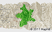 Political Panoramic Map of Lushui, shaded relief outside