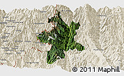 Satellite Panoramic Map of Lushui, shaded relief outside