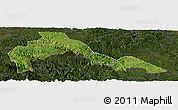 Satellite Panoramic Map of Malipo, darken
