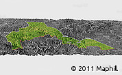 Satellite Panoramic Map of Malipo, desaturated