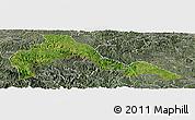 Satellite Panoramic Map of Malipo, semi-desaturated