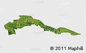Satellite Panoramic Map of Malipo, single color outside