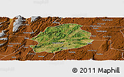 Satellite Panoramic Map of Malong, physical outside