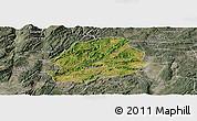 Satellite Panoramic Map of Malong, semi-desaturated