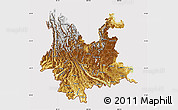 Physical Map of Yunnan, cropped outside