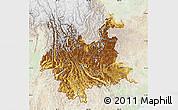 Physical Map of Yunnan, lighten