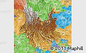 Physical Map of Yunnan, political shades outside