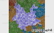 Political Shades Map of Yunnan, darken