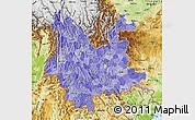 Political Shades Map of Yunnan, physical outside