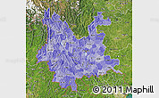 Political Shades Map of Yunnan, satellite outside