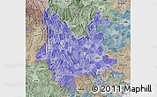 Political Shades Map of Yunnan, semi-desaturated