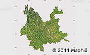 Satellite Map of Yunnan, cropped outside