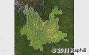 Satellite Map of Yunnan, darken