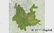 Satellite Map of Yunnan, lighten