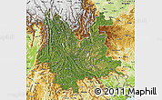 Satellite Map of Yunnan, physical outside