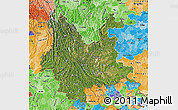 Satellite Map of Yunnan, political shades outside