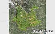 Satellite Map of Yunnan, semi-desaturated
