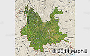Satellite Map of Yunnan, shaded relief outside