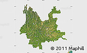 Satellite Map of Yunnan, single color outside
