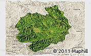 Satellite Panoramic Map of Menghai, shaded relief outside