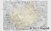 Shaded Relief Panoramic Map of Menghai, desaturated