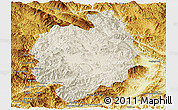 Shaded Relief Panoramic Map of Menghai, physical outside