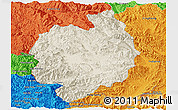 Shaded Relief Panoramic Map of Menghai, political outside