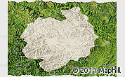 Shaded Relief Panoramic Map of Menghai, satellite outside
