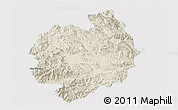 Shaded Relief Panoramic Map of Menghai, single color outside