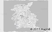Gray Panoramic Map of Mengla, single color outside