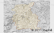 Shaded Relief Panoramic Map of Mengla, desaturated