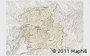 Shaded Relief Panoramic Map of Mengla, lighten