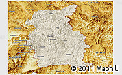 Shaded Relief Panoramic Map of Mengla, physical outside