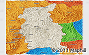 Shaded Relief Panoramic Map of Mengla, political outside
