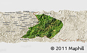 Satellite Panoramic Map of Menglian, shaded relief outside