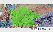 Political Panoramic Map of Mile, semi-desaturated