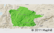Political Panoramic Map of Mile, shaded relief outside