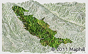 Satellite Panoramic Map of Mojiang, lighten