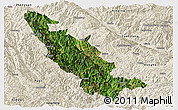 Satellite Panoramic Map of Mojiang, shaded relief outside