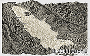 Shaded Relief Panoramic Map of Mojiang, darken