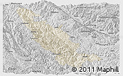 Shaded Relief Panoramic Map of Mojiang, desaturated