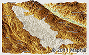 Shaded Relief Panoramic Map of Mojiang, physical outside