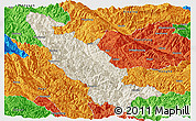 Shaded Relief Panoramic Map of Mojiang, political outside