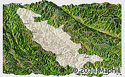 Shaded Relief Panoramic Map of Mojiang, satellite outside