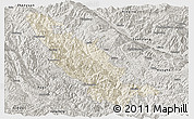 Shaded Relief Panoramic Map of Mojiang, semi-desaturated