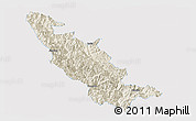 Shaded Relief Panoramic Map of Mojiang, single color outside