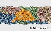 Political Panoramic Map of Nanjian, semi-desaturated