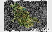 Satellite Panoramic Map of Ninglang, desaturated