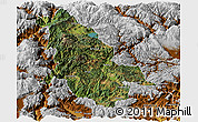 Satellite Panoramic Map of Ninglang, physical outside
